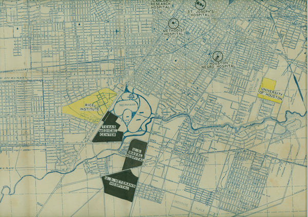 map of all hospital locations in houston  texas  circa 1945