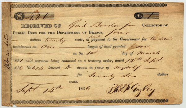 A receipt for payment on land by Thomas J Gazley received by Gail