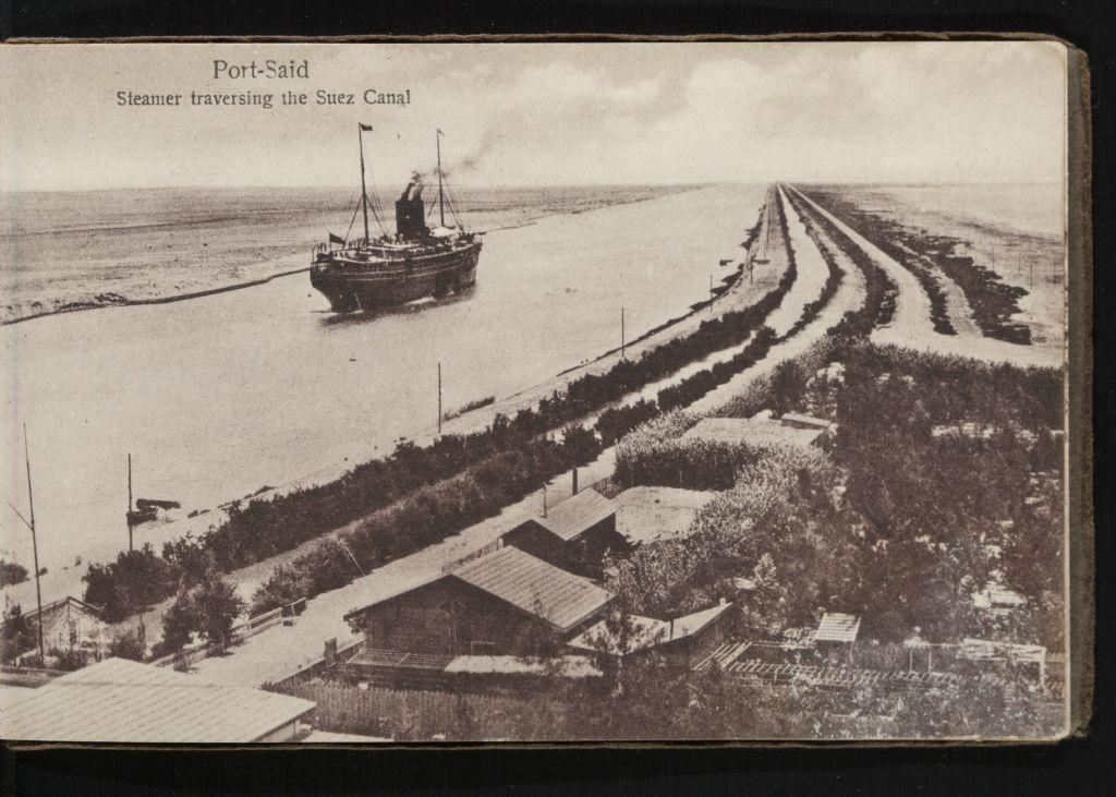 port said  steamer traversing the suez canal