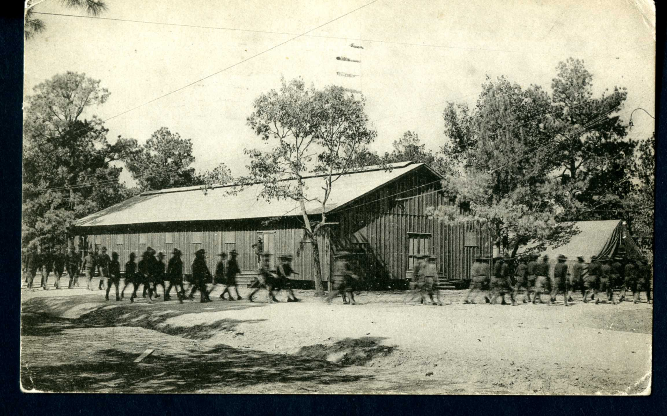 Postcard of Post Office located in Camp Logan, circa 1918